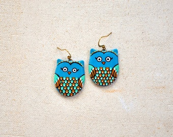 Owl earrings, Bird jewelry, Owl jewelry, Colorful earrings, Blue earrings, Animal jewelry, Bird earrings handpainted earrings FREE SHIPPING