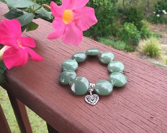 Ladies green aventurine bracelet