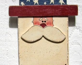 Uncle Sam Door Hanger Wall Hanger 4th of July Door Hanger Door Sign Outdoor Welcome Sign Yard Sign Hand Painted Patriotic Americana Wood