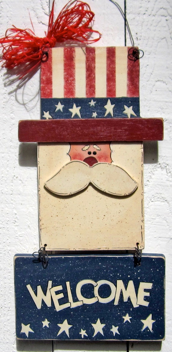Uncle Sam Door Hanger Wall Hanger 4th Of July Door Hanger Door
