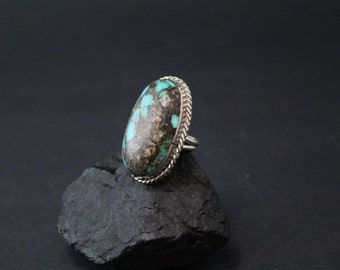 Large Native American Sterling Silver Oval Turquoise Old Pawn Statement Ring