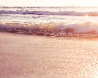 Seashore Art, Sunset Photograph, Ocean Art, Coastal Decor, Beach Photography, Pacific Ocean, Yellow Orange Decor, Beach Art, Seascape