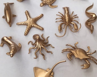 Gold Silver Metallic Sea Animals - Beach Theme - Under the Sea Theme - Birthday - Nursery - Wedding - Shower - Decor - Party Decor - Favors