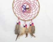 Pink Butterfly Dreamcatcher, 13.5cm diameter.