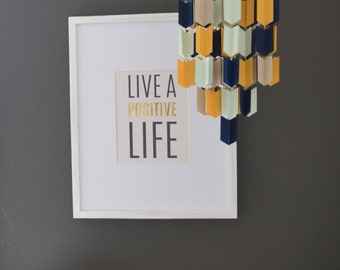 Blue, Mint, Beige and Mustard Aztec Arrow Paper Mobile Chandelier