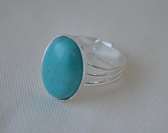 Turquoise ring, silver plated ring, antique effect ring, adjustable ring, stone ring, statement ring, vintage style ring