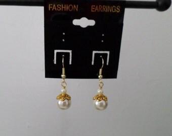 earrings - gold and white earrings