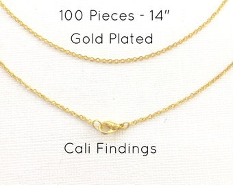 """100 Pcs GOLD PLATED 14"""" Finished Chain, Flat Shiny Cable Chain Soldered, 1.75 x 1.85mm, 100 Pieces, Gold Chain, Bulk Chains, 14 inch"""