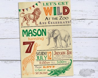 Zoo Birthday Invitations, Jungle 1st Birthday Invitations, 7th Birthday Party Invitation Printable, Safari First Birthday Invites