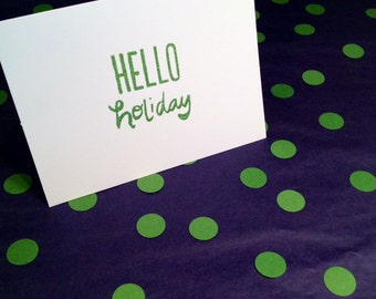 Merry Christmas/Holiday Greeting Cards and Envelopes - Green and White - Set of 8