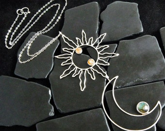 Sterling Silver Sun and Moon Pendant Necklace - Eclipse Jewelry - Crescent Moon Necklace - Sun Pendant - Boho Necklace - Hippie Necklace