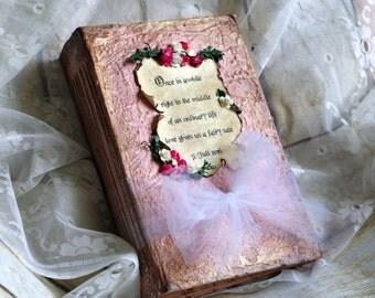 Blush pink Wedding Guestbook, Fairy tale Photo Album, Fairytale Alice in Wonderland, Cinderella Guest book, Story book, Storybook,