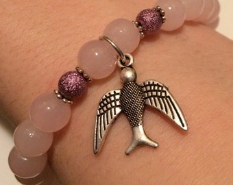 Natural Pearl with swallow charm bracelet