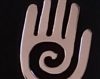 Silver Spiral healing hand pendant.