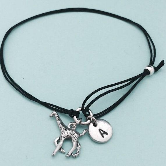 Giraffe Charm Bracelet: Giraffe Cord Bracelet Giraffe Charm Bracelet Adjustable