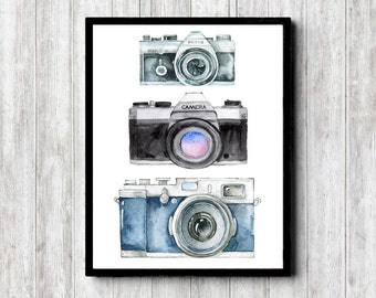 Instant Download - Watercolor Camera Art Print - Photographer Gift - Photography Studio Wall Art - 3 Cameras Poster - 8 x 10