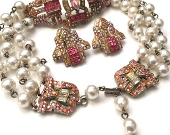 Thelma Deutsch Pink Paste Deco Style Choker and Earring Clip Set // Wedding Jewelry