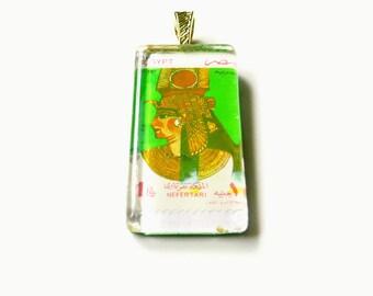 Egyptian Stamp Pendant, Nefertari Stamp, Egyptian Stamp Jewelry, Egypt Pendant, Egyptian Queen Nefertari, Stamp Pendant, Stamp Necklace