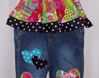 Custom boutique little girls Crazy Hearts overalls 18-24 mo.