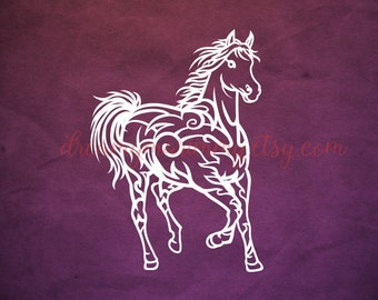 Horse Vector File, Horse Papercut Template SVG Cutting Files, PDF Paper Cutting Template, Horse Paper Cut Outs,  Commercial Use, PT-069