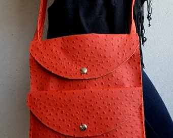 Leather IPad Bag, Leather Crossbody Bag, Orange Leather Bag, Leather Ipad Purse, Orange Ipad Bag, Ipad Handbag, Leather Handbag, Ipad Purse