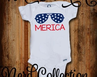 4th of July Baby Onesie America American MERICA  First Independence Day Military Red White Blue July Fourth New Baby Clothing Gerber