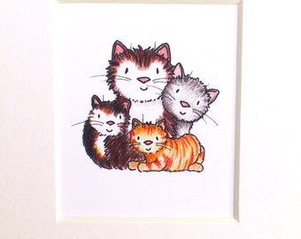 Cat print, miniature cats picture, ginger, tabby cat, grey and tortoiseshell, cat lover gift