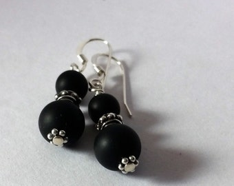 Natural Matte Black Onyx with Bali Silver and Sterling Earwires
