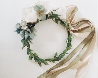Vintage Blue Flower Crown