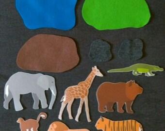 Zoo Animal Felt Set // Flannel Board // Animals// Zoo // Creative Play