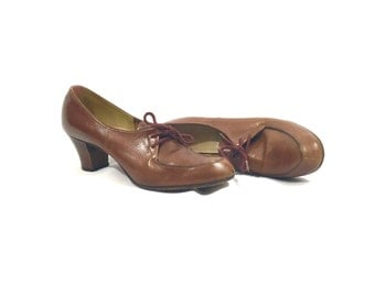1960's Heels | Hill and Dale Brown Leather Oxford Heels | Size: 7