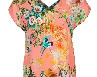 Floral Print V neck satin shirt, T shirt for women, peach floral shirt, v neck front and back- SIZE - S