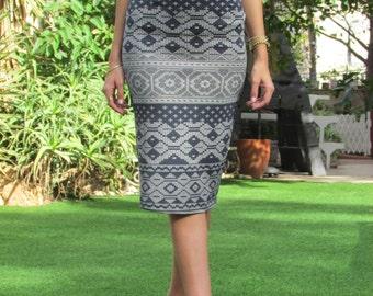 Midi Pencil Skirt, ethnic print skirt , gray print skirt  SIZE S,L-  - Anabel