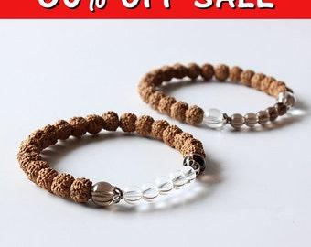 SALE 60% OFF - Enlighten and Cleanse Mala Bracelet - Meditation Bracelet - Crystal and Rudraksha Beads - Yoga Gift - Prayer Beads