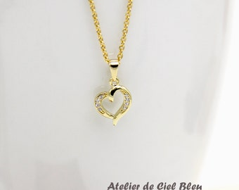 Heart Necklace, Tiny Gold Heart Necklace, Cubic Zirconia CZ Heart Necklace, Tiny Gold Heart Pendant Necklace, Bridesmaid Gift