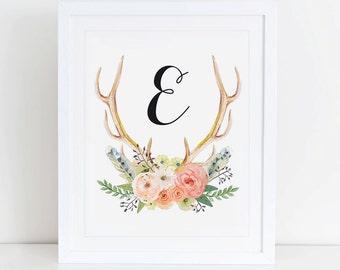 Personalized Monogram,  Name Nursery Printable Art Print, Instant Download, Nursery Floral Printable Calligraphy Monogram, Custom Name Art