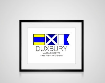 "DUXBURY, Massachusetts Nautical Flag Art Print  Is 8"" x 10"" Or 11"" x 14"" Ocean Beach Cabin Lodge Coastal Decor Home"