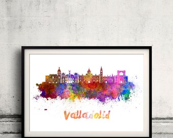 Valladolid skyline in watercolor over white background with name of city - Poster Wall art Illustration Print - SKU 1895
