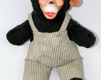 "vtg 1960s money doll with hard face with ears and overalls - very rare - vintage - 1950s / 60s - 17"" inches x 11"" inches"