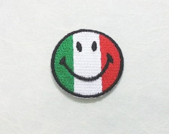 Italy Smiley Face Iron on Patch - Italy Flag Applique Embroidered Iron on Patch/Italy Flag  Patch
