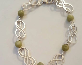 Sterling Silver Hand-Crafted bracelet with Connemara Marble Beads
