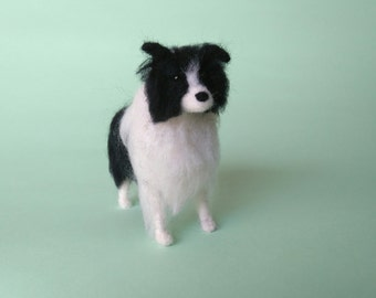 READY TO SHIP Needle Felted Border Collie Dog Miniature Soft Sculpture