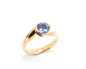 Sapphire ring, 18k pink gold, ceylon sapphire, 18ct pink gold ring, pink gold sapphire carved ring, Blue  Sapphire size US 51/2 -6 UK L- M
