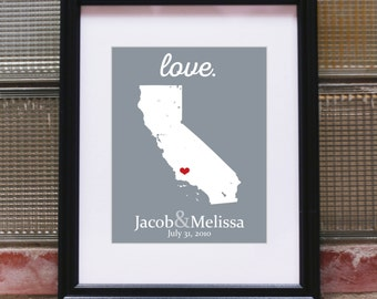 California State Wedding California Wedding California Map 5 Year Wedding Anniversary Gift 27th Wedding Anniversary Wedding Gift For Husband