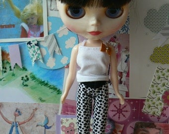 White and black Legging hearts patterns Blythe  Pants Blythe clothes hand made in France