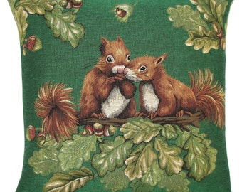 squirrels tapestry gobelin throw pillow cushion cover in chestnut tree on green background jacquard woven in Belgium - PC-5521