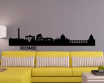 Rome Skyline Wall Decal City Silhouette Cityscape Italy Rome Wall Decals Vinyl Stickers Living Room Office Bedroom Wall Art Home Decor C020