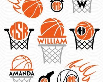 Basketball SVG Monogram Frames - Svg, Eps, Dxf Studio3 - Basketball Cut Files for Silhouette Studio, Cricut Design Space, Cutting Machines