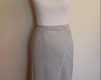 Silver metallic skirt, XS, S, metallic knit skirt, formal skirt, silver skirt, glitter skirt, silver skirt, knit skirt