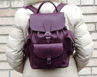 "Dark purple leather backpack ""Isabella"""